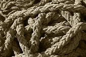 Tangled Pile Of Thick, Frayed Rope
