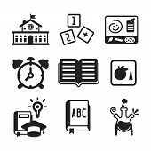 Set Of Vector Monochrome Education Icons In Flat Style