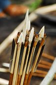 foto of fletching  - Ancient arrows maid by master for antique arts festival - JPG