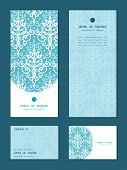 Vector light blue swirls damask vertical frame pattern invitation greeting, RSVP and thank you cards