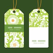 Vector green and golden garden silhouettes vertical stripe frame pattern tags set