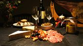 picture of buffet lunch  - Spanish festive gourmet table - including cheeses and meats ** Note: Shallow depth of field - JPG