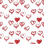 Valentines Day Hand Drown Hearts Seamless Pattern