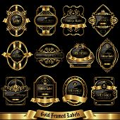 Gold framed labels set 8