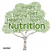 Vector Conceptual green tree made of health nutrition text as wordcloud isolated on black background