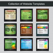 Collection of Website Templates for Your Business - Nine Nice and Simple Design Templates with Different Patterns and Header Designs - Nature, Trees, Bubbles