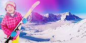 Ski, winter fun - lovely skier girl enjoying ski vacation, filtered