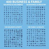 400 business, family, holidays, health, travel, industry, office, holidays, party, music, application, interface, application icons, signs, illustrations set, vector