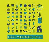 food, vegetables, fruits, drinks, bakery, fish, pizza, restaurant, cafe icons, signs, illustrations set, vector