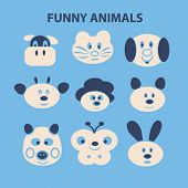 funny animals, dog, cow, cat, butterfly, monkey, sheep, pig, rabbit faces, icons, signs, illustrations set, vector