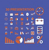 30 information, presentation icons, signs, illustrations set, vector