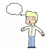 cartoon shocked man with thought bubble