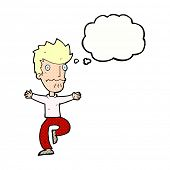 cartoon frightened man with thought bubble