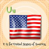 Illustration of a letter U is for United States of America
