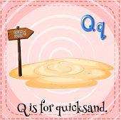 Illustration of a letter Q is for quicksad