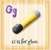 Illustration of a letter G is for glue