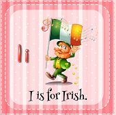 Illustration of a letter I is for irish