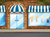 Illustration of a children clotes shop