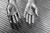 Hands Open Futuristic Robot Silver Steel Over Gray