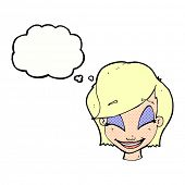 cartoon happy blond woman