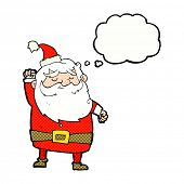 cartoon santa claus punching air with thought bubble