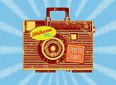 Photo travel. Vintage camera-suitcase. Retro grunge style poster. Vector illustration.