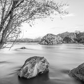 landscape with Southern Bug river black and white picture