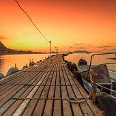 Bridge in the golden sunrise over the sea Crimea