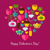 Happy Valentine`s Day Greeting Card. Set Of Flat Design Concept Icons For Web And Mobile Phone Servi