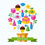 Happy Birthday Greeting Card. Set Of Flat Design Concept Icons For Web And Mobile Phone Services And