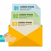 Envelope With Document Files In Hands, Isolated Background. Flat Design Modern Vector Illustration.