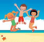 picture of children beach  - Stock vector cartoon illustration Funny children on the beach - JPG