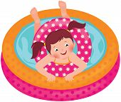 Little Girl Splashing In The Summer Inflatable Pool