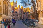 St. John college and Trinity street with lots of bikes, Cambridge