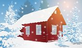 Old wooden house in forest at winter season. EPS 10 format.