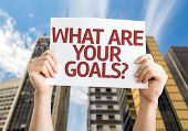 What are Your Goals? card with a urban background