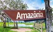 Amazonia wooden sign with rural background