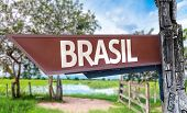 Brazil (in Portuguese) wooden sign with rural background