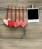 Red Hearts And Vintage Photo Frame. Valentines Day Decoration