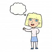 cartoon friendly woman waving with thought bubble