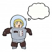 cartoon space man with thought bubble