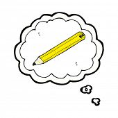 cartoon pencil symbol in thought bubble