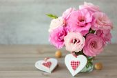 Two Handmade Valentine's Hearts and beautiful flowers - vintage stile