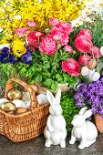 Easter Home Decoration With Fresh Spring Flowers, Bunny And Eggs
