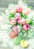 Tulip Flowers With Easter Eggs Decoration. Vintage Style Toned