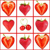 Heart-shaped red berries in collage