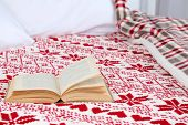 Book on bed close-up