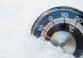 Thermometer in the snow shows low temperature