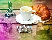 Coffee With Croissant And Heart Decoration
