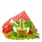 Olive Oil With Basil And Tomatoes. Italian Food Ingredients